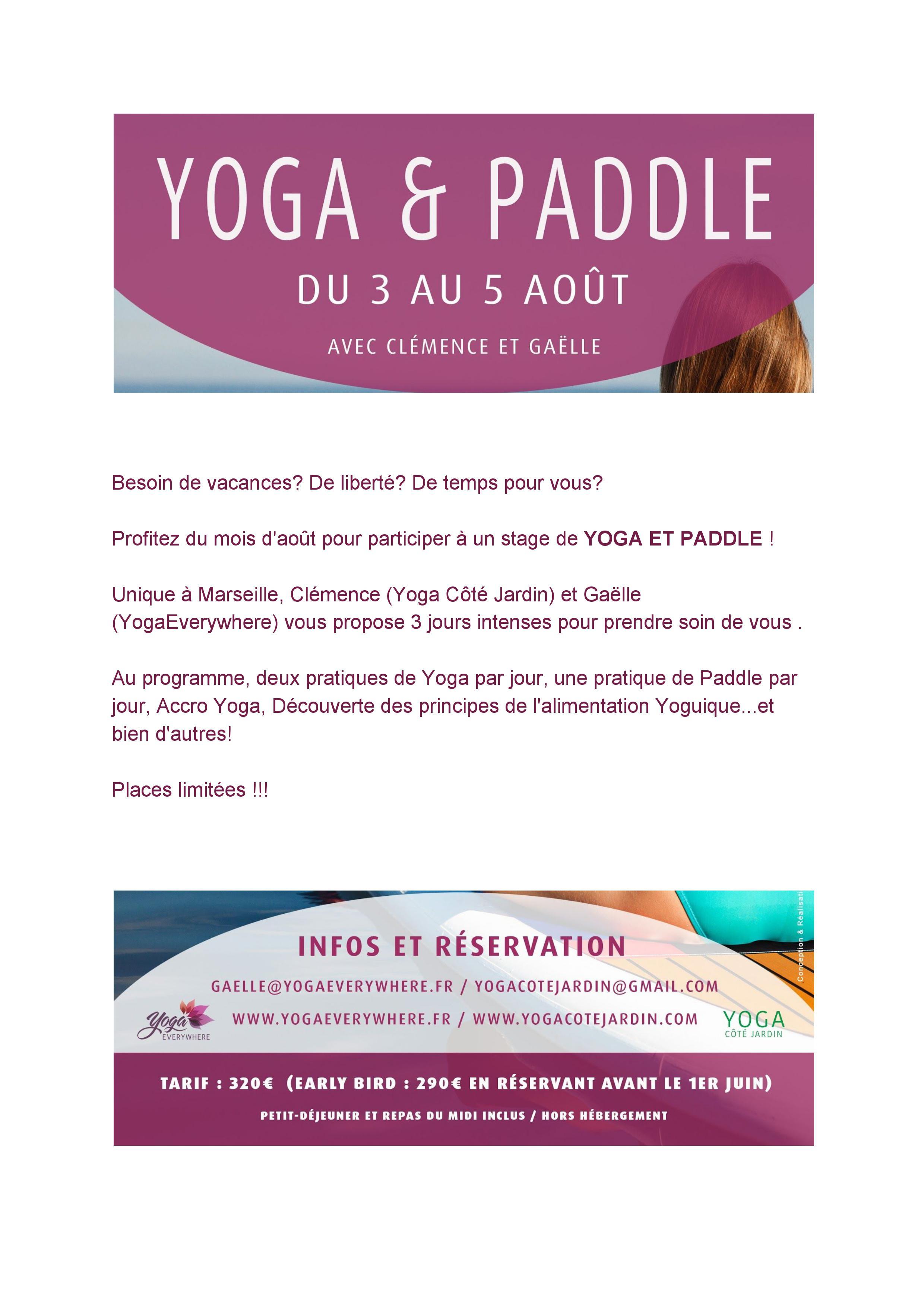Changement de Date Stage Yoga et Paddle Du vendredi 31 aout au dimanche 2septembre