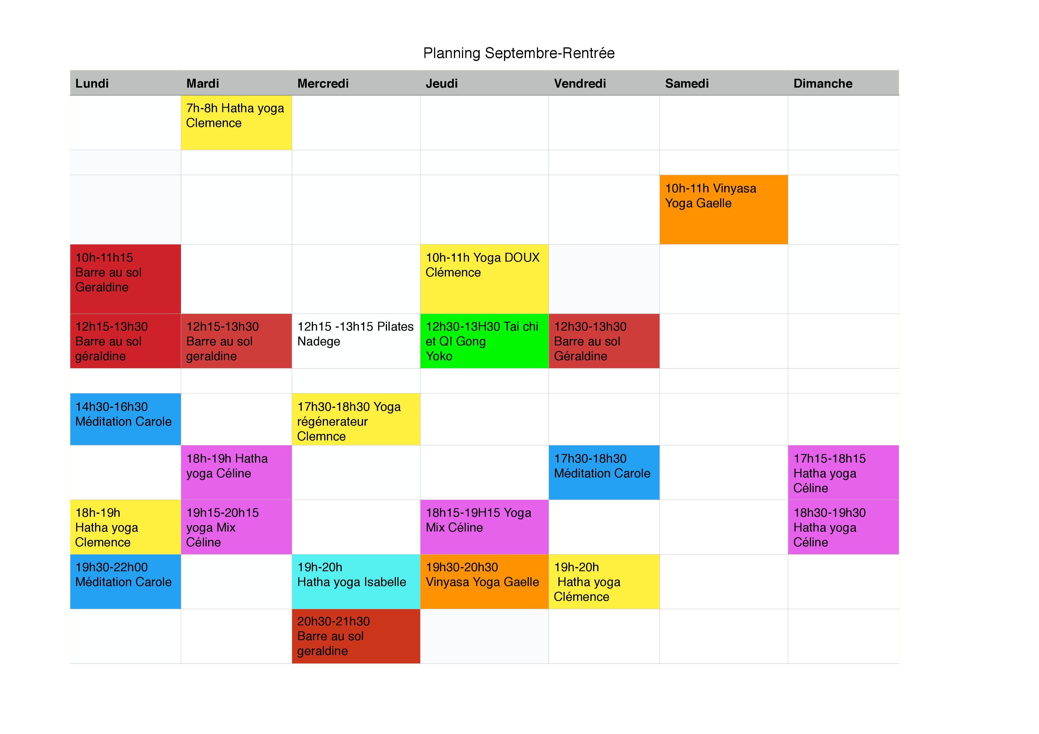 Planning Printemps!