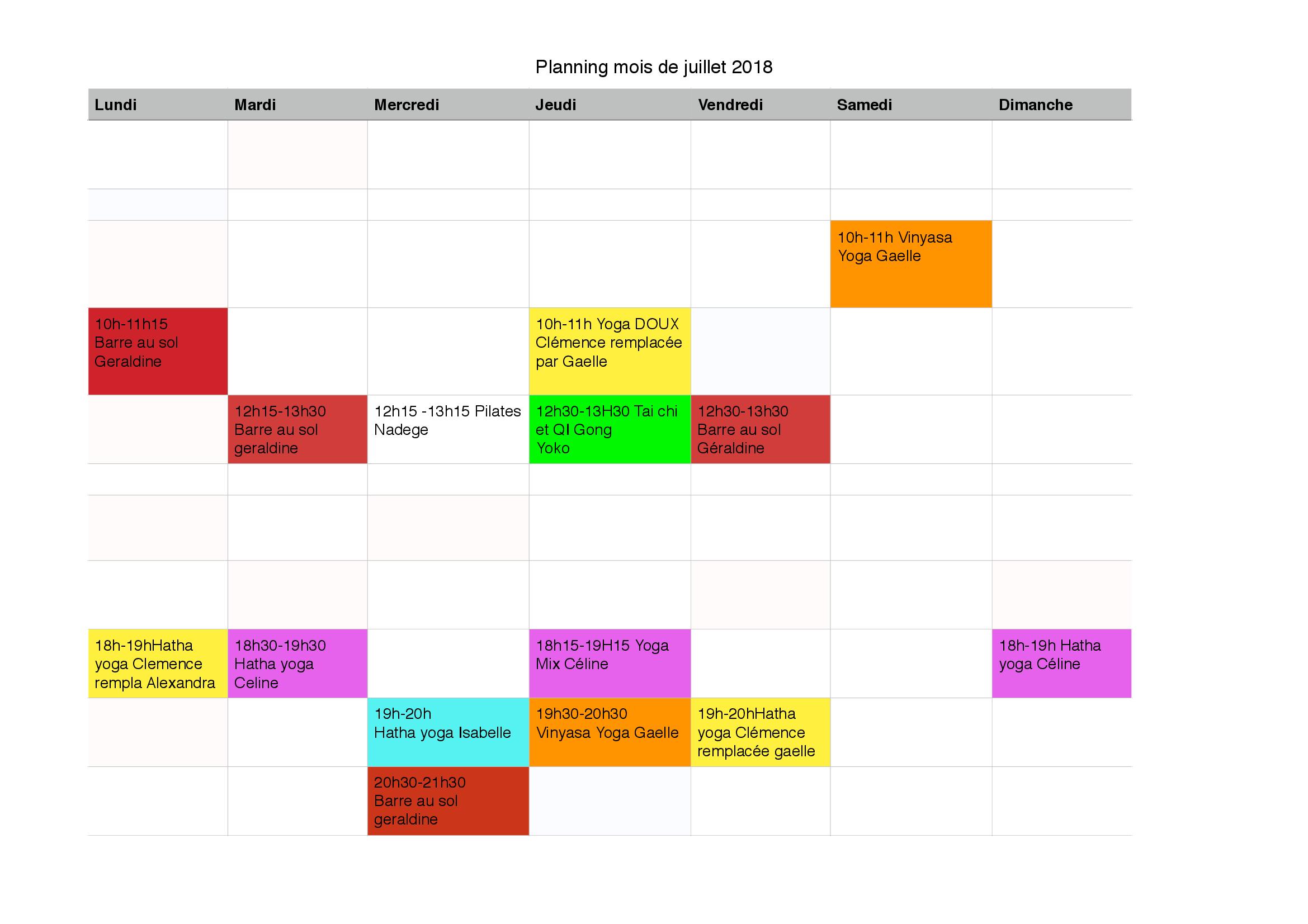 Planning du mois de juillet!