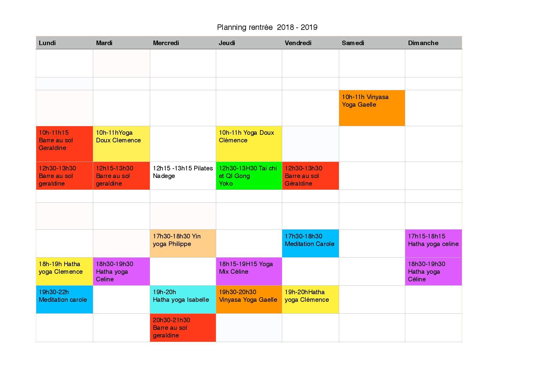 Planning de Rentrée2018-2019