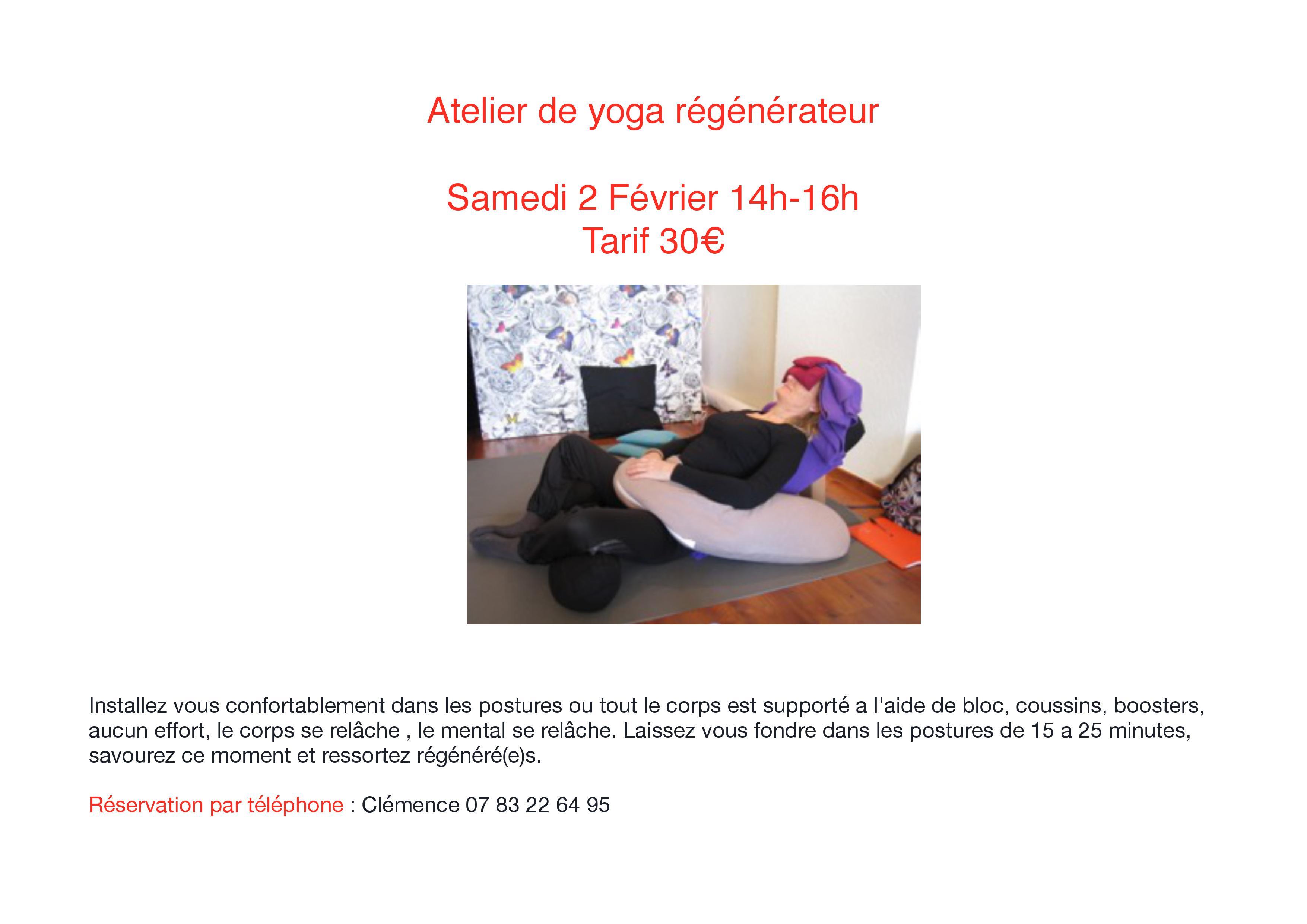 Atelier de yoga régénérateur Samedi 2 février14h-16h