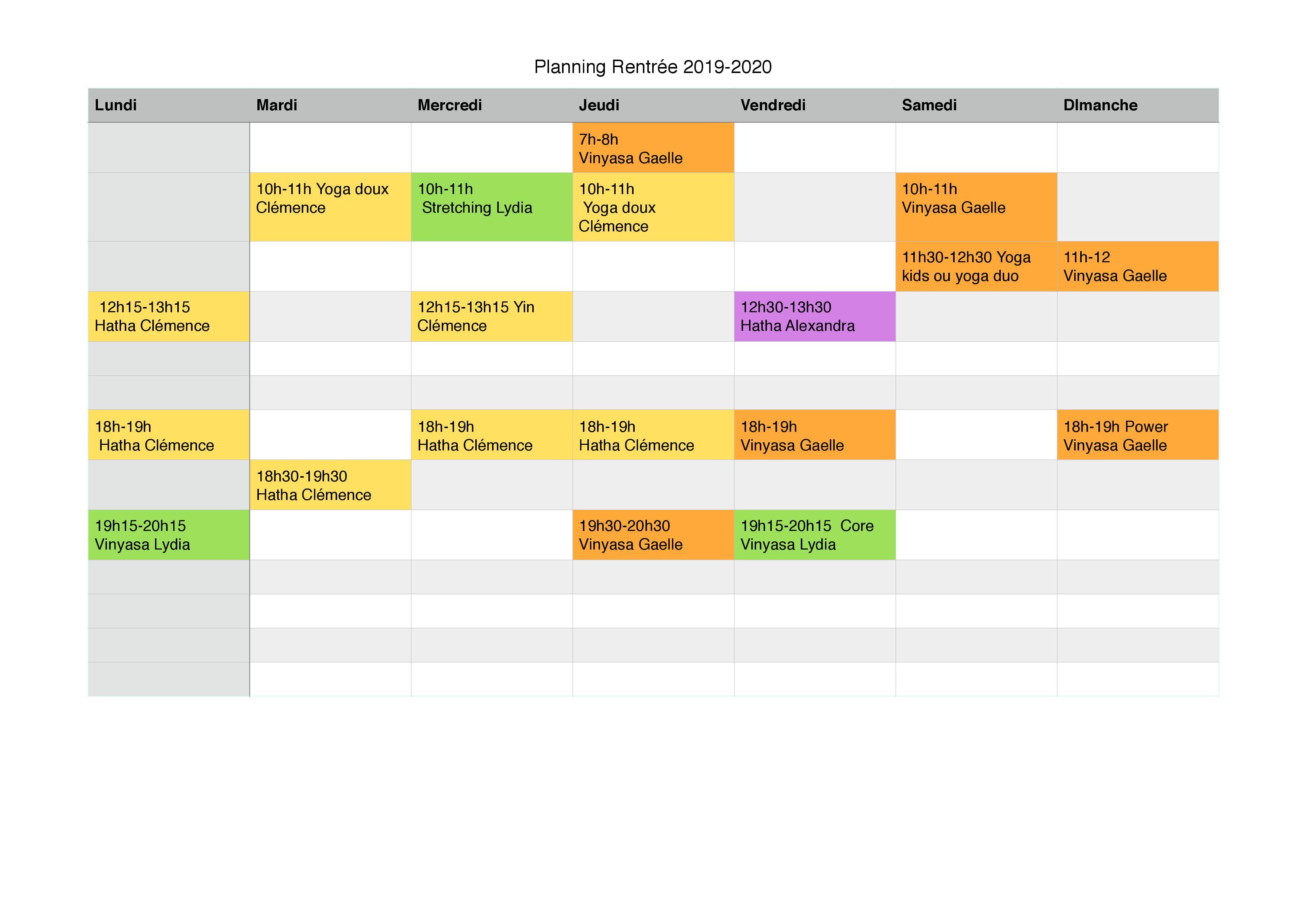 Planning à partir du Lundi 2septembre